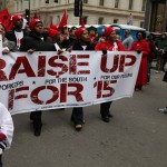 Workers march for higher wages at annual Historic Thousands on Jones St. rally. Feb. 8, 2014.