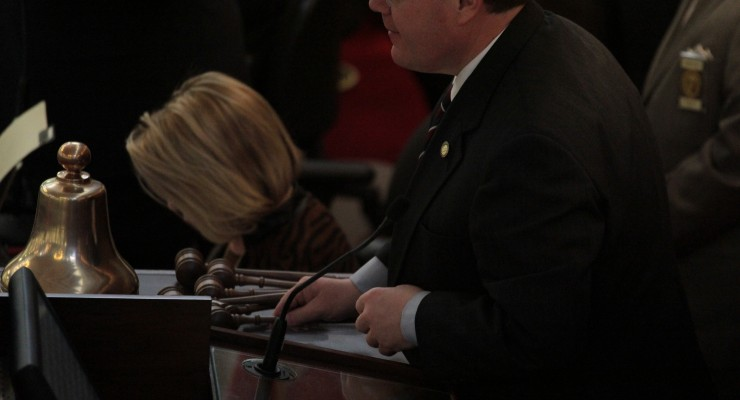 NC House Speaker Tim Moore readies another set of gavels to hand out to new committee chairs