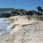 Sandbag seawall at Ocean Isle Beach
